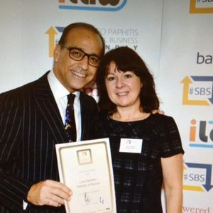 Getting business award for HolidayInBrecon #SBS award from Theo Paphitis