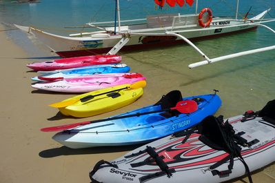 We have several kayaks and native paddle boats free for our guests to use.