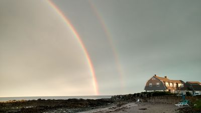 Double rainbows and beach chairs to enjoy