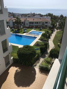 Photo for Beautiful apartment with pool, stunning sea views, close to La Cala and beach