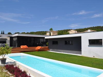 Photo for Beautiful contemporary house in peace with heated swimming pool, 6 people, 170 m2