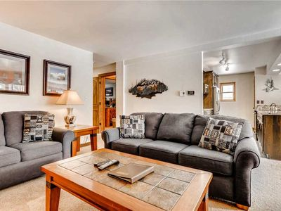 Photo for Rustic mountain condo close to town with private balcony, great for summer getaway