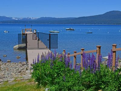 Photo for At The LakeBrockway Shores Condo - Tahoe Lakefront with a pier and buoy