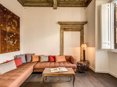 Photo for Stunning view from this exclusive apartment with marble accessories and carved wood ceiling.