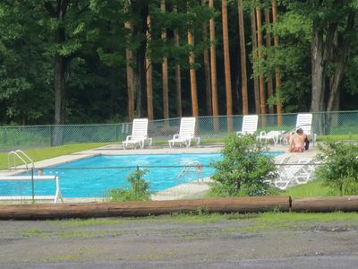 Our outdoor pool in the mountains. Never crowded. Enjoy the views as you swim!