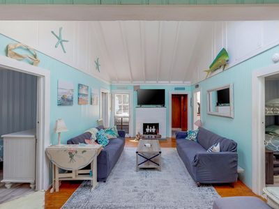 Photo for Bright, dog-friendly home near the beach w/adult and children bikes!