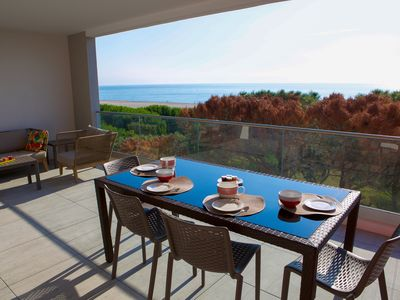 Photo for SUPERB T3-70m2- ON THE BEACH -CLIMATE- 30m2 TERRACE- WIFI-