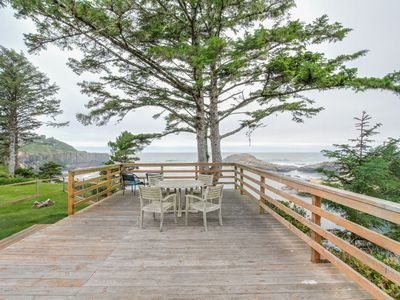 Photo for Oceanfront, ocean view cabin - whale-watch from the huge deck, dogs OK!