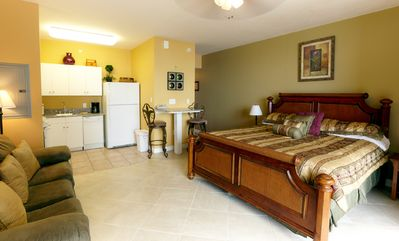 Suite unit with king bed, queen sofa sleeper and full kitchen.