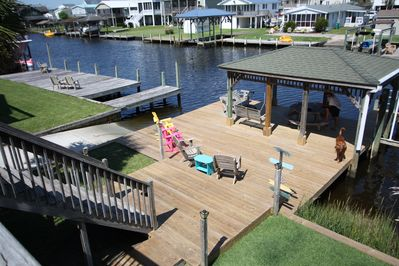 New large dock with covered pavilion and outdoor seating