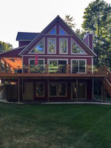 Photo for River Lodge: 5 BR  Beautiful cabin on the Pere Marquette River (Sleeps 12)