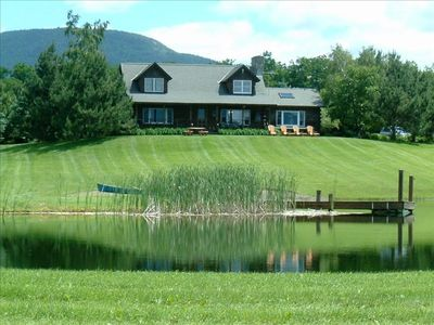 Private Country Log Home with Spectacular Mountain Views and Swimming Pond