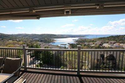 View from the condo looking out past the balcony at Table Rock Lake
