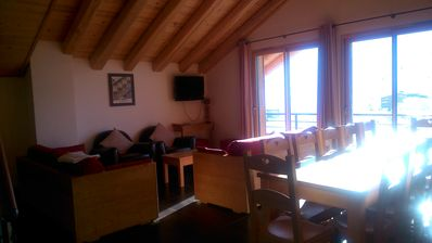 Photo for Nice apartment, breathtaking views of the peaks from the balcony. Sauna, steam room