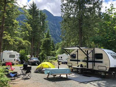 Photo for RV Trailer all set up + hooked up at Hope Valley RV park.Glamping at its finest