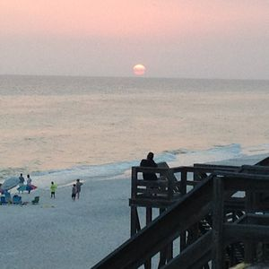 Picture of the sunset from our boardwalk.