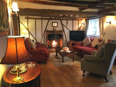 Photo for Spacious  4 Star Period Cottage, log fire,  large garden, countryside, nr beach