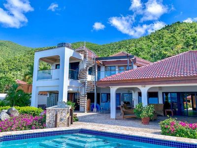 Photo for Beachfront Villa, Swimming Pool with Covered Patio, Beach Access, Tennis Court, AC, Wifi