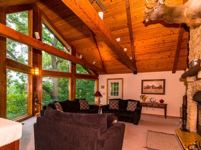 Photo for Extraordinary Log Home w/Breathtaking Views, 2 Fireplaces, Pool Table, Fire Pit