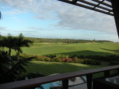 Dye Fore golf course view from our patio -- this is 17th fairway and green