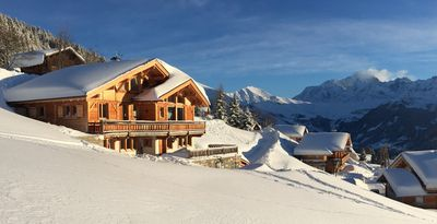 Photo for Luxury cabin - magnificent view on the Mont Blanc  15 beds. Easy access