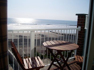 View from balcony overlooking beach