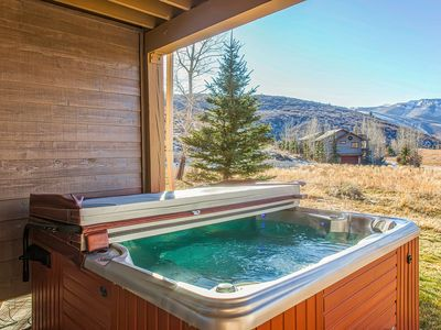 Photo for Rustic home w/ private hot tub, mountain views & fireplace