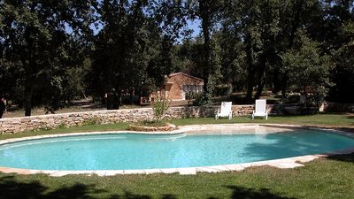 Photo for Ménerbes: Stone farmhouse with swimming pool in nature for 2 to 4 people