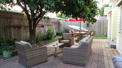 Conversation area and picnic table in the Backyard