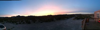 Panoramic of the sunrise and the Tanks from the porch.