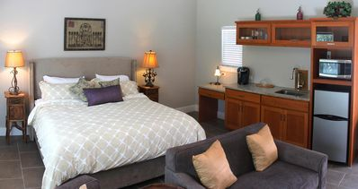 Relax in a very comfortable bed.  Kitchenette