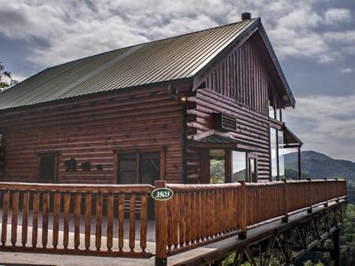 Photo for Luxurious , Panoramic mountain view, Fire place & Jacuzzi in every room, Games