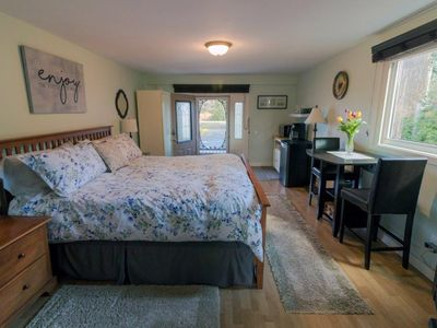 Photo for Sunny studio next to the ocean!  Private entrance, gas fireplace, king size bed.