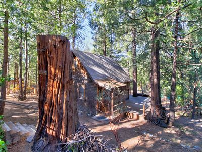 Photo for NEW LISTING! Historic cozy cabin w/ large deck, original rock fireplace and loft