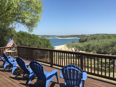 Photo for Waterfront Lake Travis Home in Point Venture, Sleeps  8-10, Huge outdoor deck!
