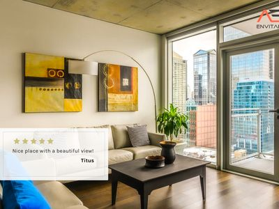 Photo for PARKING IN BLDG|SAFE & PRIVATE|2BR Exquisite Loft Rooftop Pool, Gym and Balcony by ENVITAE