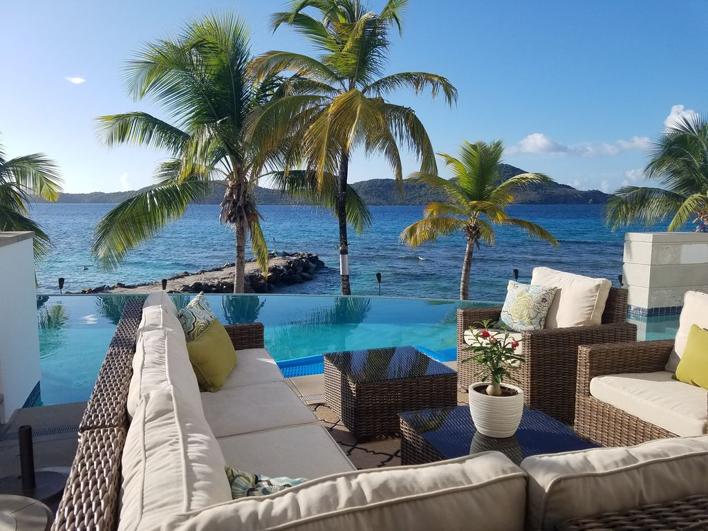 Estate Smith Bay Villa Rental Outdoor Couch Overlooking The Pool Beach And Sea