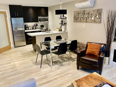 Open floor plan easily adapts space to your needs, from eating to entertaining