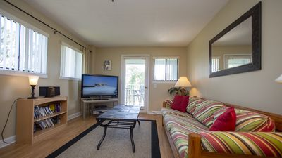 Living area with large screen cable tv and queen size sleeper sofa