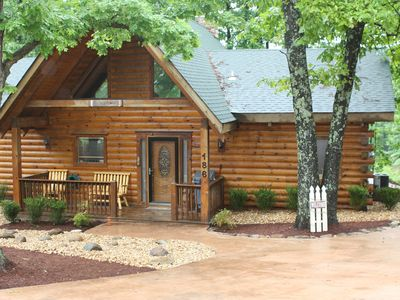 Photo for Cozy Log Home 'Dogwood Cabin' with 2 master suites and expansive deck