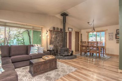 Wide open living room and dining area floorplan