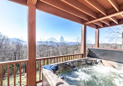Hot Tub with Mountain Views on Lower Rear Deck off of Game Room