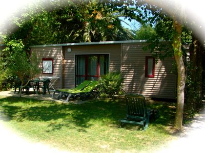 Photo for Mobile home in air-conditioned luxury 5 star camping 900m from the beach