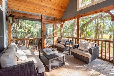Screened porch with marsh views