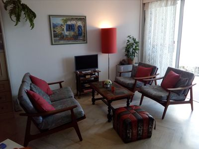 Photo for Charming studio in a residence with pool. Close to beaches and all shops
