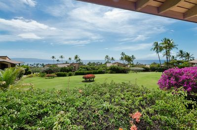 Expansive greenbelt & ocean views from our kitchen and lanai