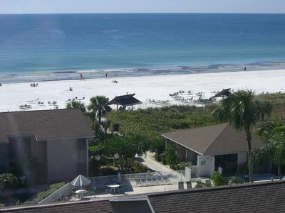 Aerial view of Peppertree Bay private beach on Siesta Key