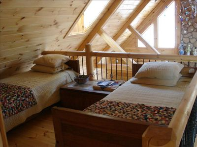 Twin beds in the loft