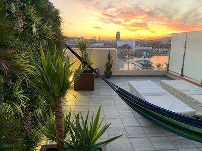 Private roof terrace with outside shower and view over whole of Barcelona