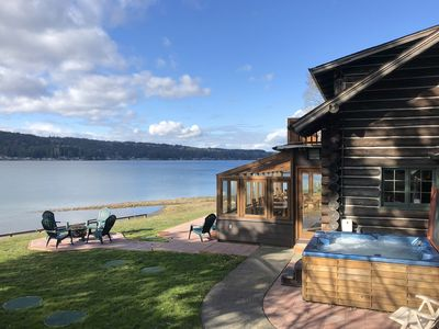 Photo for Waterfront Log Home, Solarium & Hot Tub, Kayaks, Close to Seattle & Olympic Mtns